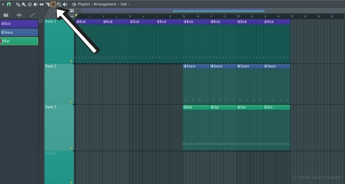 FL Studio select tool in playlist