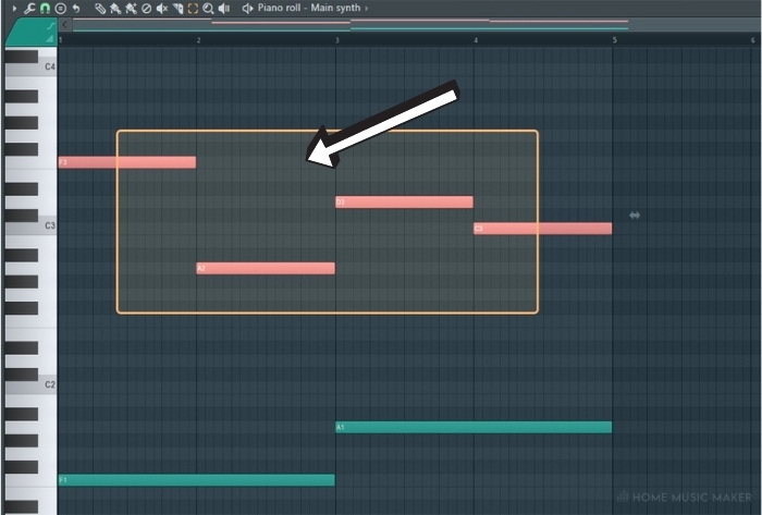 FL Studio selecting notes in piano roll