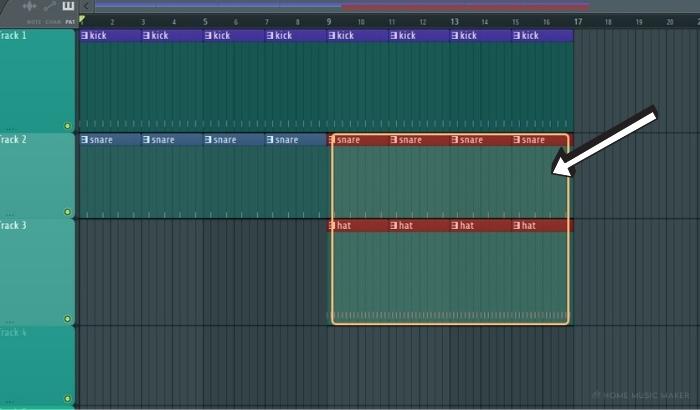 FL Studio selecting patterns