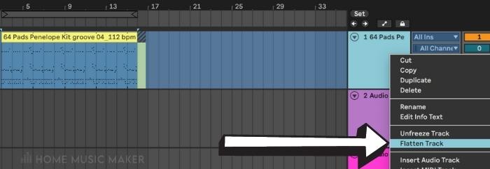 Flatten track in Ableton