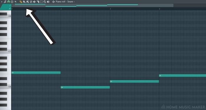Locating The Bar Timeline in FL Studio Piano Roll