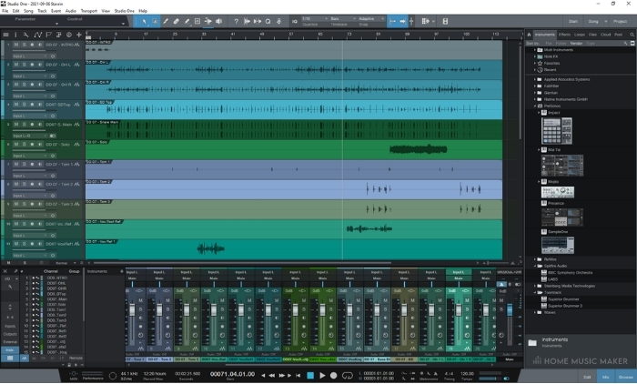 Studio One Mixer and VST Layout