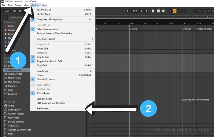 Setting up Ableton Audio Settings